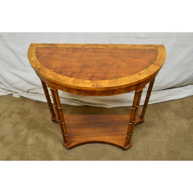 1960s Baker Vintage Burl Wood & Walnut Demilune Console Table For Sale - Image 5 of 13