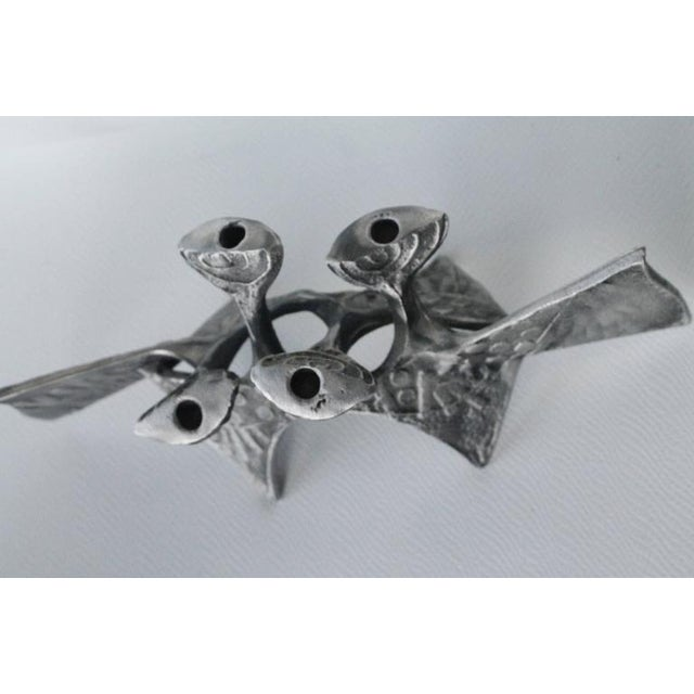 Metal Donald Drumm Brutalist Cast Aluminum Candle Holder For Sale - Image 7 of 12