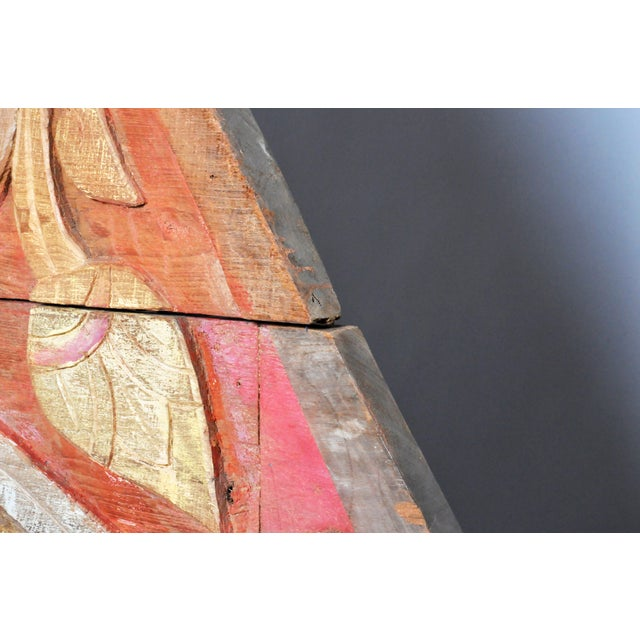 Red Teak Wood Architectural Gable Fragment For Sale - Image 8 of 9