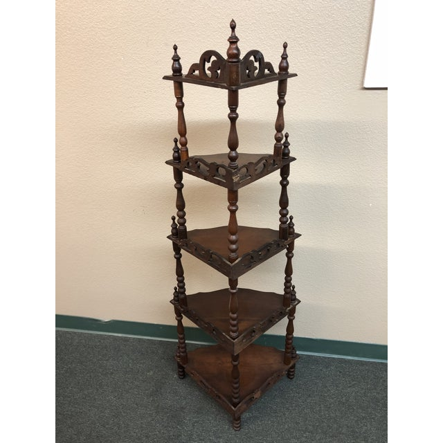 Antique corner etagere chairish design plus gallery presents a prim and proper display for your treasures turned supports solutioingenieria Image collections