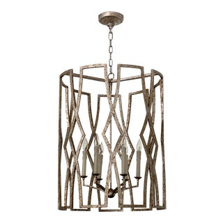Visual Comfort Aged Silver Chandelier For Sale