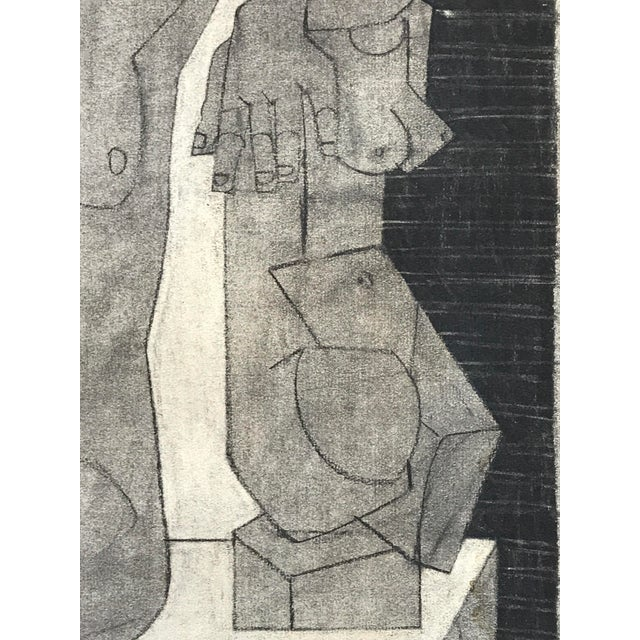 """John Bowers Collection Nude With Cubist Sculpture 1929 Charcoal on Paper 18.75""""x24.75"""", unframed Came from a portfolio..."""