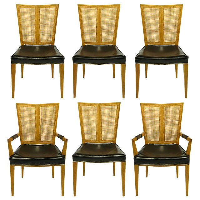 Set of Six Michael Taylor for Baker Walnut and Leather Dining Chairs For Sale - Image 9 of 9