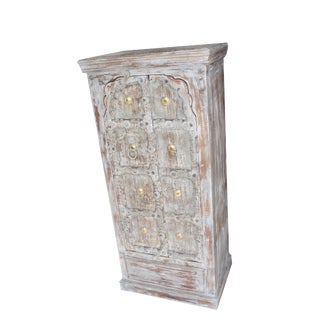 1920s Art Nouveau Distressed Gray Teak Wooden Cabinet For Sale