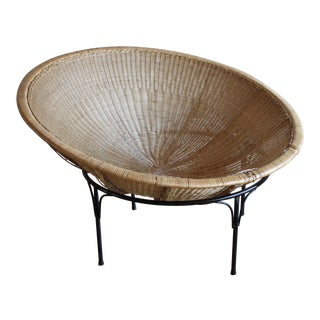 1960s Vintage Mid-Century Modern Rattan Bowl Lounge Chair For Sale