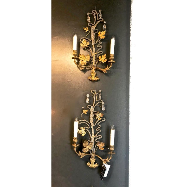 Gold Pair Bagues-Style Beaded Sconces For Sale - Image 8 of 8