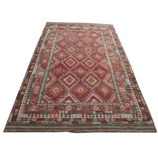 Late 19th Century Vintage Afghani Kilim Wool Rug - 9′8″ × 16′7″ For Sale