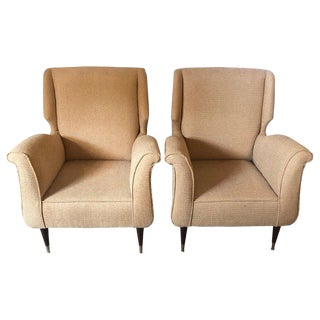 Pair of Mid-Century Modern Gio Ponti Style Arm, Bergere or Wing Back Chairs For Sale