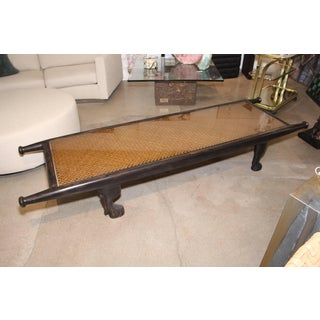 African Caning Bench or Table With Paw Carved Feet Preview