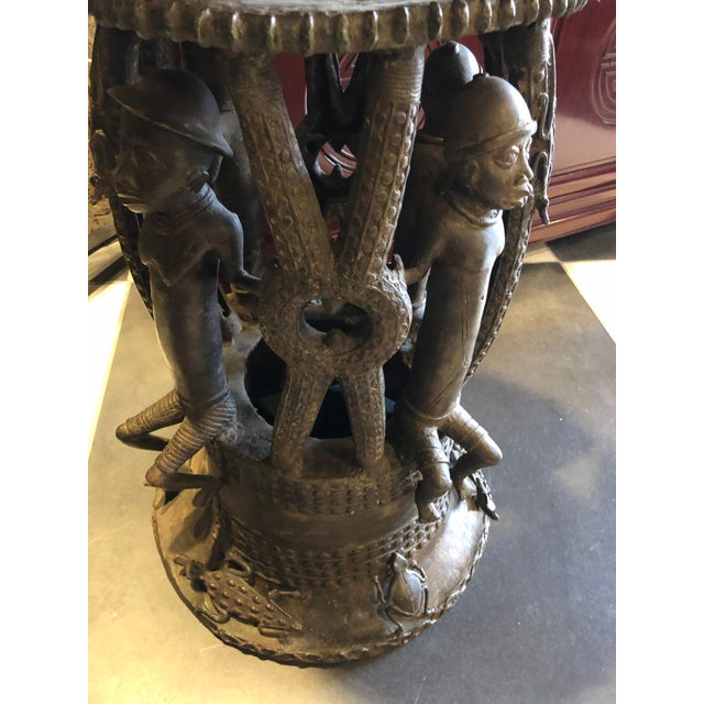 Alligator Bamileke Bronze Planters / Urns - a Pair For Sale - Image 7 of 8