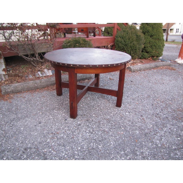 1900s Mission L&jG Stickley Round Leather Top Center Table For Sale - Image 13 of 13