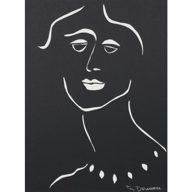 """Contemporary Rob Delamater """"The Moderns Vii"""" Monochromatic Portrait in Cut Paper, 2018 2018 For Sale - Image 3 of 3"""