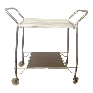 1970s Vintage Bar Cart With Marble Top For Sale