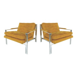 Mid-Century Modern Chrome Chairs by Cy Mann - A Pair For Sale