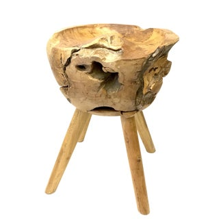Hand Crafted Burl Wood Stool