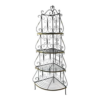Steel and Brass Accented Baker's Rack