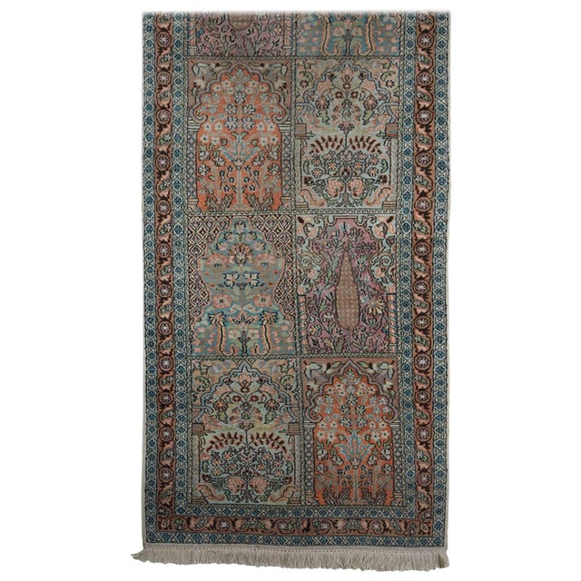 Persian Pale Blue Field Silk Runner Rug - 2′ × 10′ For Sale