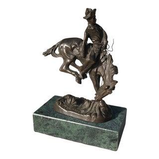 1960s Vintage Frederic Remington Bronze Bronco Buster Figurine For Sale