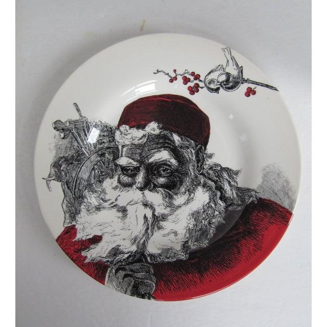 Pair of Royal Stafford Christmas salad places with St. Nick, otherwise known as Santa Clause on the front. Marked on...