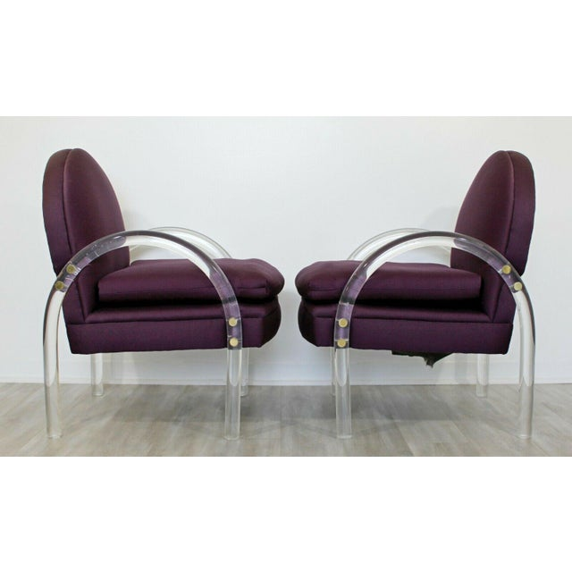 Mid-Century Modern Mid Century Modern Pair Pace Lucite Armchairs Charles Hollis Jones Style 1970s For Sale - Image 3 of 8