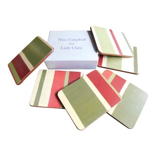Nina Campbell Vintage Striped Coasters in Box - Set of 6 For Sale