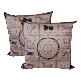 Horse Patterned Scarf Pillow Covers - A Pair