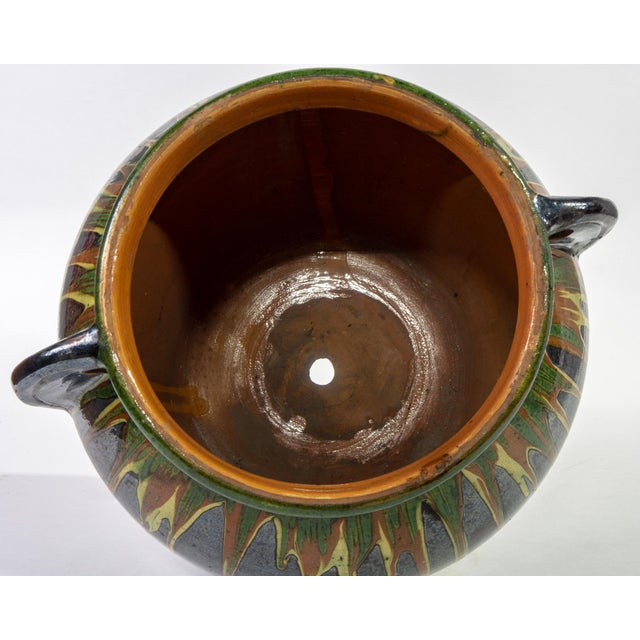 Ceramic Large European Drip Glaze Black Ceramic Pot For Sale - Image 7 of 11