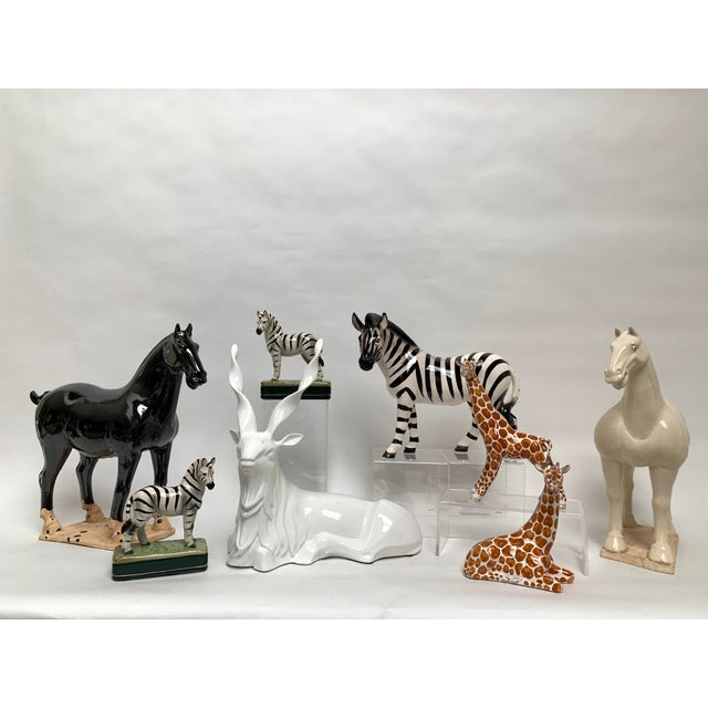 FInal Markdown Italian Porcelain Oversized White Sitting Spiral Horned Antelope Figure For Sale - Image 10 of 11