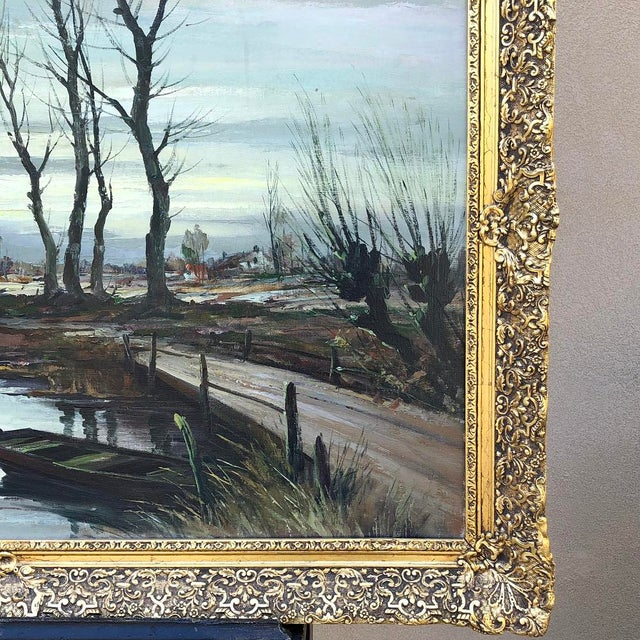 Canvas Antique Framed Oil Painting on Canvas Signed T. Moens For Sale - Image 7 of 11
