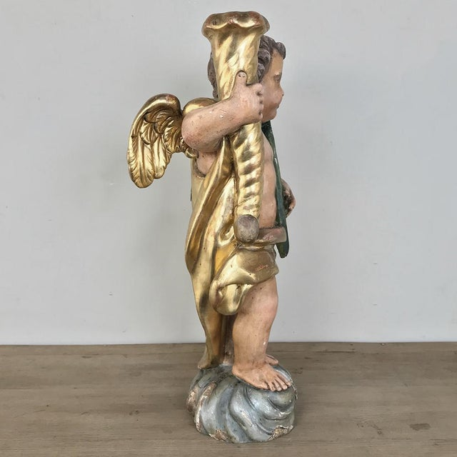 19th Century Italian Hand Carved & Painted Cherub For Sale - Image 4 of 13