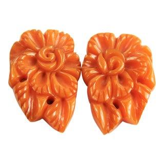 Vintage Carved & Pierced Bakelite Orange Flower Dress Clips - a Pair For Sale