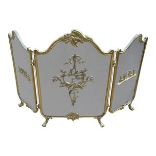 1950s French Rococo Louis XVI Love Birds Brass Fireplace Screen For Sale