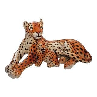 1960's Giovanni Ronzan Italian Porcelain Leopard & Cub For Sale