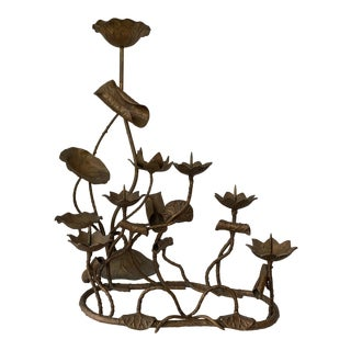 Sculptural Japanese Bronze Lotus Candleholders For Sale