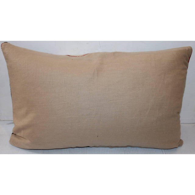 Country Early Navajo Weaving Sawtooth Pattern Bolster Pillow For Sale - Image 3 of 3