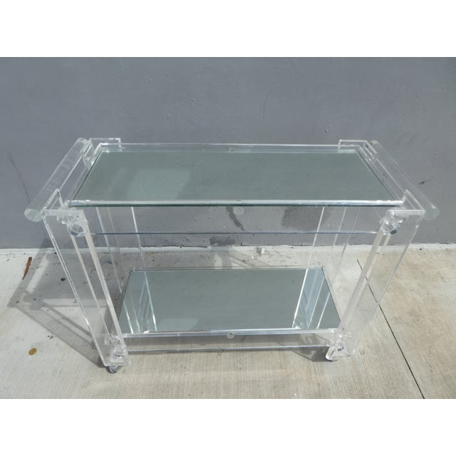 Lucite High Quality Lucite Bar Cart For Sale - Image 7 of 8