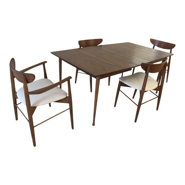 Mid-Century Danish Walnut Dining Table Set With Fold Away Leaf & 4 Chairs