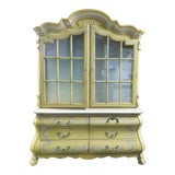 Image of 1960s Drexel French Country Yellow China Cabinet For Sale