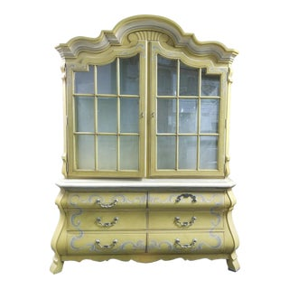 1960s Drexel French Country Yellow China Cabinet For Sale