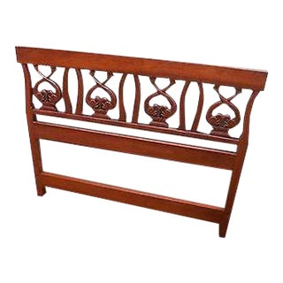 Custom Quality Solid Cherry Neo Classical Carved Dolphin Full Size Headboard For Sale