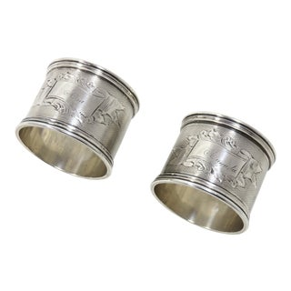 Large Antique Sterling Silver Napkin Rings - A Pair For Sale