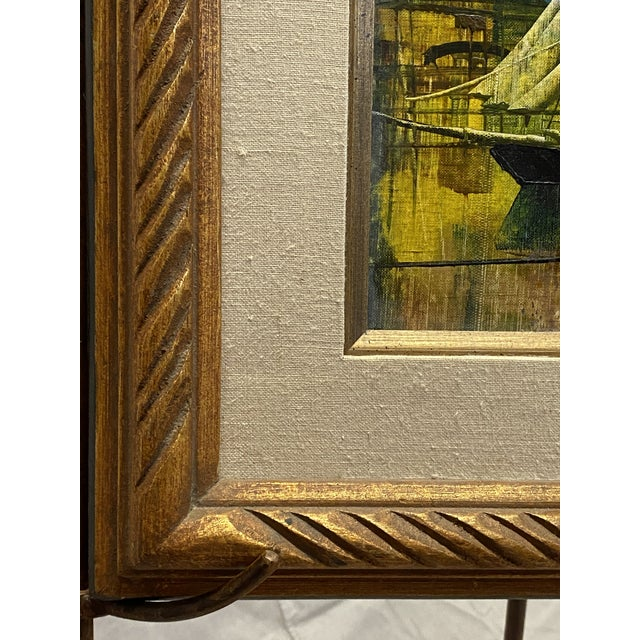 Yellow Vintage Oil on Canvas Signed Moss Nautical Sailboats Framed For Sale - Image 8 of 10