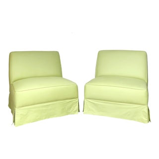 Vintage Custom Made Skirted Lounge Chairs in New Chartreuse Fabric - a Pair For Sale