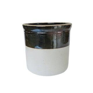 Antique Large Brown White Round Ceramic Stoneware Crock For Sale
