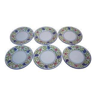 Late 20th Century Deruta Grape Motif Luncheon Plates - Set of 6 For Sale