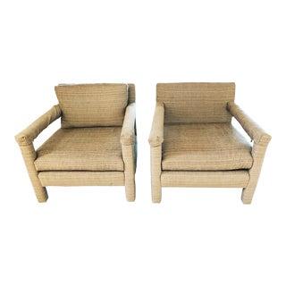 1970s Vintage Parsons Lounge Chairs - A Pair For Sale