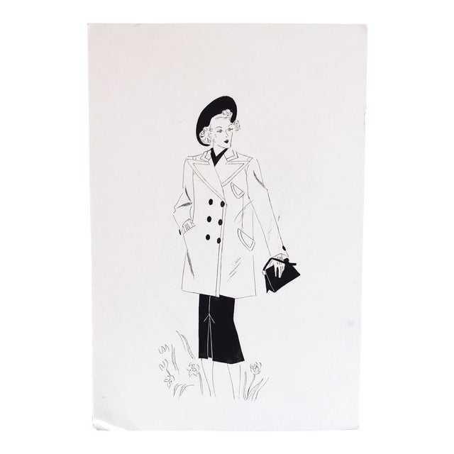 1940s Fashion Sketch For Sale