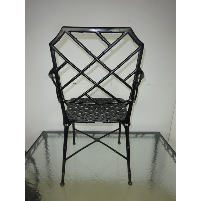 Brown Jordan Calcutta Faux Bamboo Table & Arm Chairs For Sale - Image 11 of 12