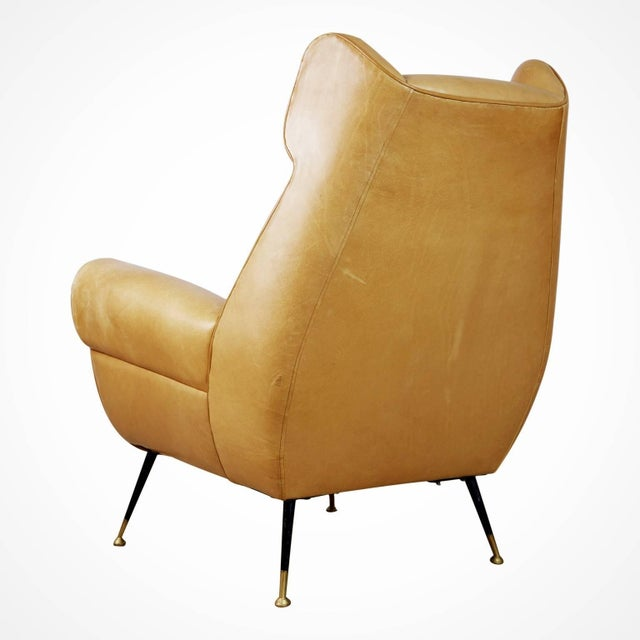 1960s 1960s Vintage Gigi Radice for Minotti Italian Leather Wingback Chairs- A Pair For Sale - Image 5 of 10