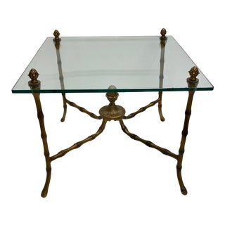 Hollywood Regency Glass Top Faux Bamboo Side Table For Sale
